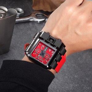 Image 2 - Oulm ブランドオリジナルのユニークなスクエアデザイン男性スポーツ腕時計ビッグダイヤルカジュアル PU レザーストラップクォーツメンズ腕時計リロイ hombre