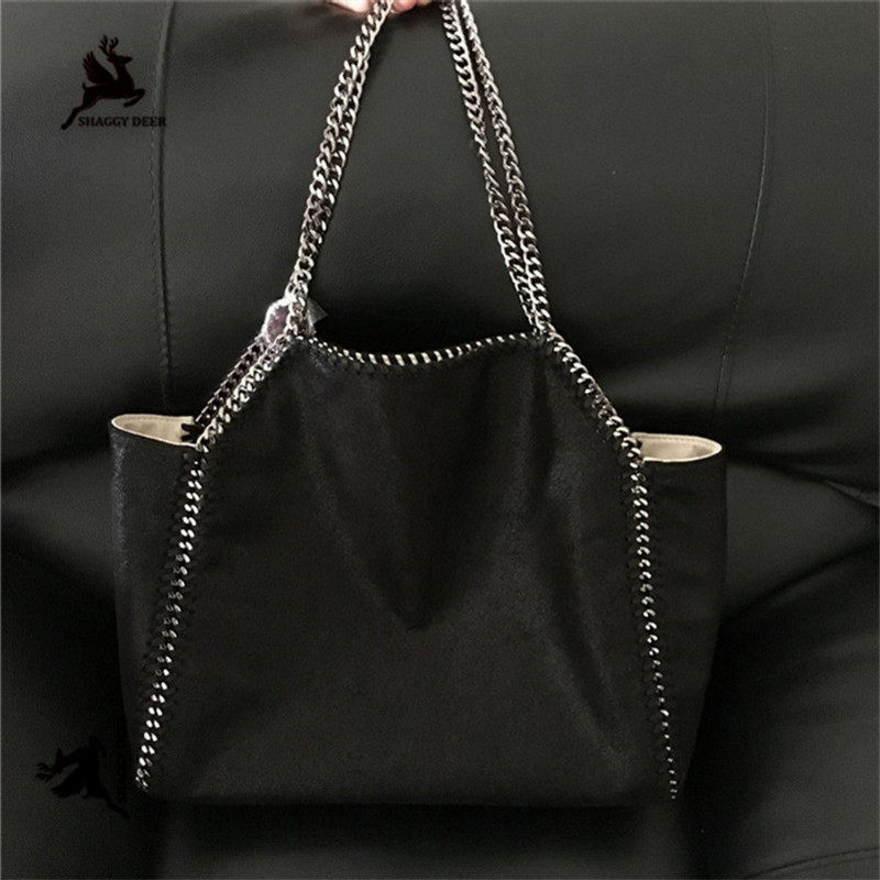 2018 New Luxury Shaggy Deer Brand Quality Dual Side Used Faux suede PVC silver-tone metal disc Shoulder Bag Soft Causal Tote