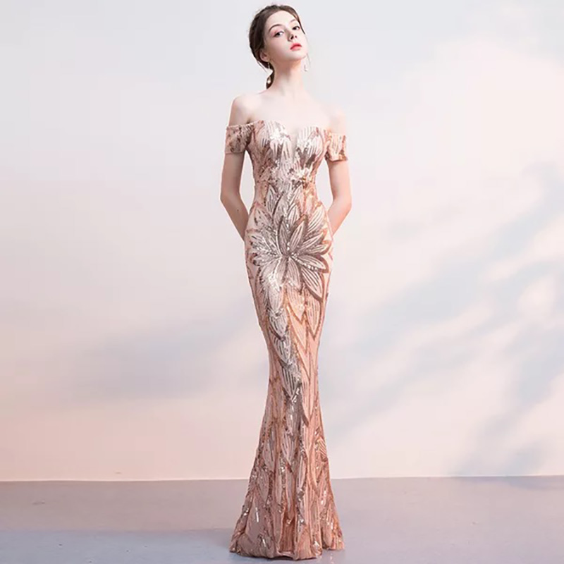 D043 rose gold off the shoulder sequined floor length bodycon long dress  IMG 2742 ... 510262b500e5