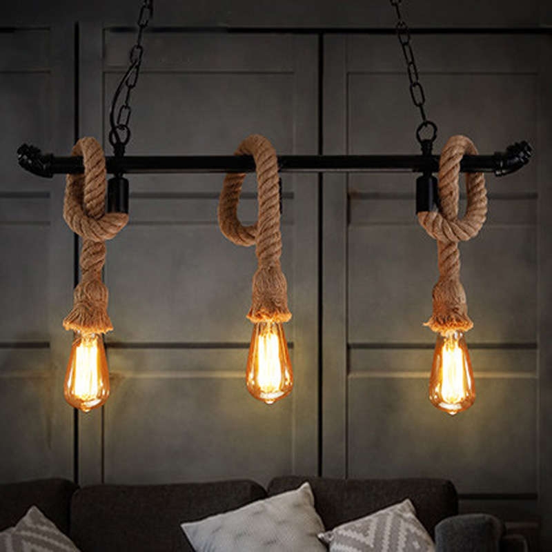 Vintage rope wrought wall lamp aisle lights,E27 110V-220V loft Black iron pipe wall lamp edison incandescent light bulb bar cafe gregory платья