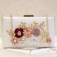 купить 2018 Fashion Flower Pearl Women Evening Bag Day Clutches Handmade PU Leather Bridal Clutch Bag Wedding Party Chain Shoulder Bag дешево