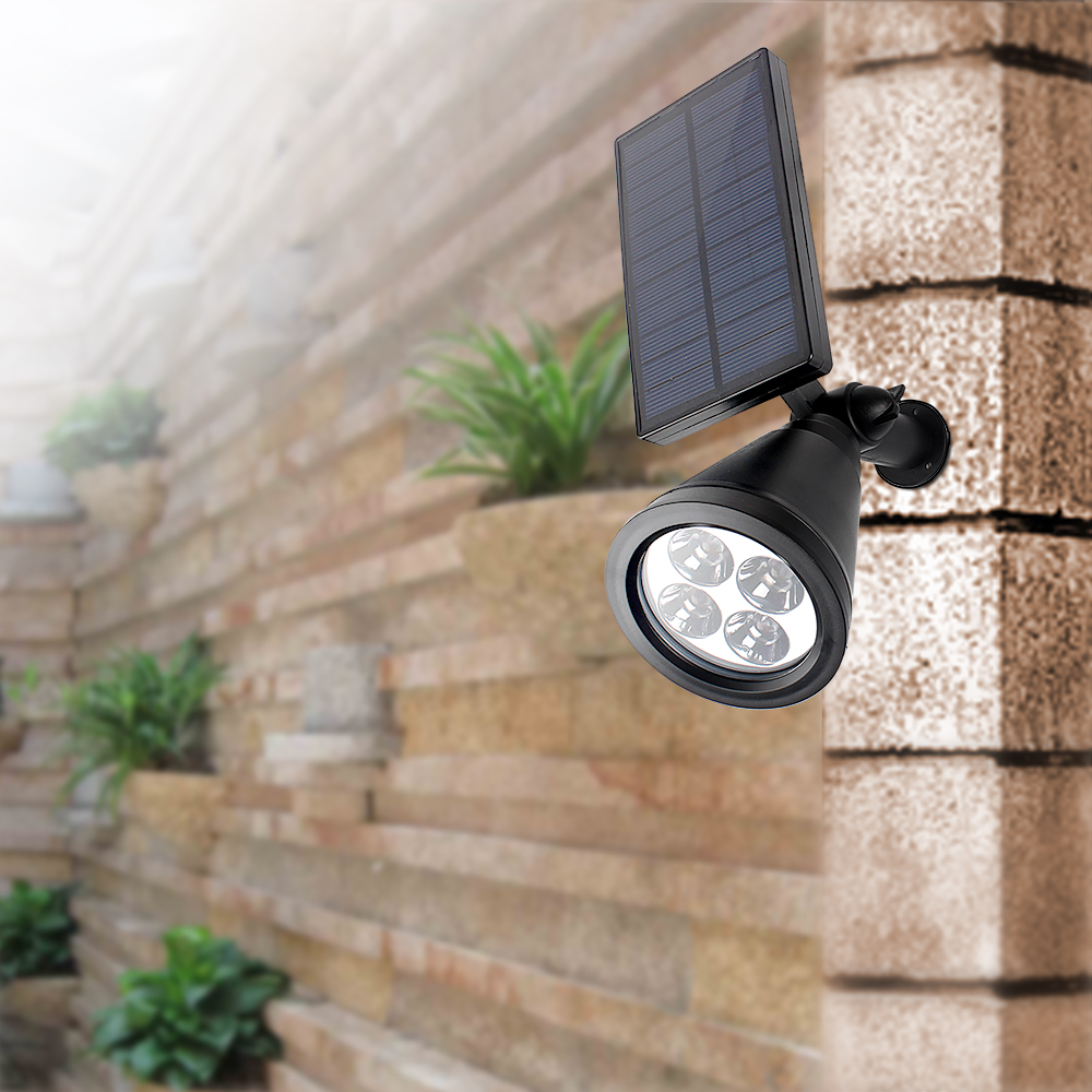 ФОТО 2Pcs Lawn Waterproof Adjustable Wall Lamps  Garden Light Landscape Led spotlights outdoor lighting High Power Solar Powered