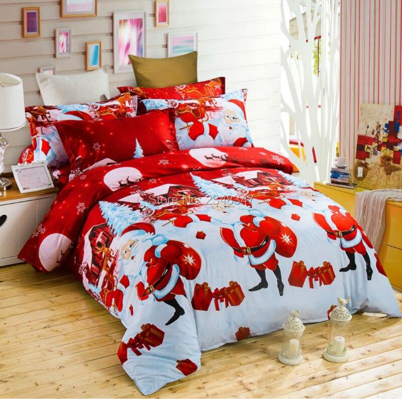 4Pcs Santa Christmas Gift for Children Kids Full/Double/Queen Size Bed Quilt/Duvet Cover Set Sheet Pillowcase 3D Red White Snow