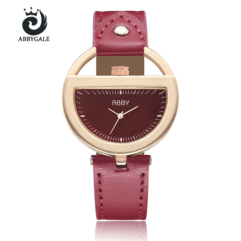Unique Design Semi Circle Hollow Dial Creative Watch Womens Dress Hour Fashion Red Ladies Wristwatch Relogio Feminino Trending miracle moment fashion stylelish mens womens unique hollowed out triangular dial black fashion watch ag3