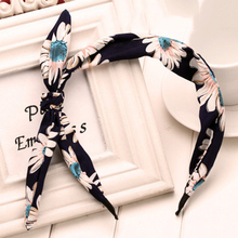 1Pcs Цветочный повязка Ткани Bow Knot Head Band Rabbit Ears Headbands для женщин Girls Headwear Hair Hoop Band Аксессуары для волос