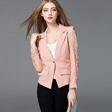 Blazers Women's Big size jacket blazers 2018 Autumn Cotton blended Lace  ladies Skinny Suit Jackets blazers Coats girls