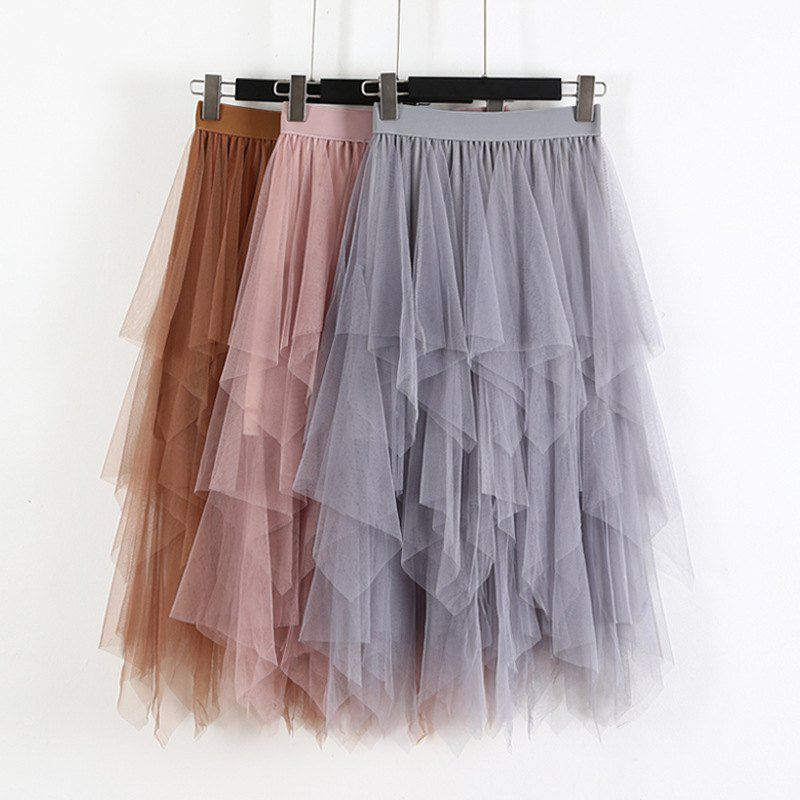 Fashion Elastic High Waist Long Tulle Skirt Women Irregular Hem Mesh Tutu Skirt 2019 Spring Party Skirt Ladies