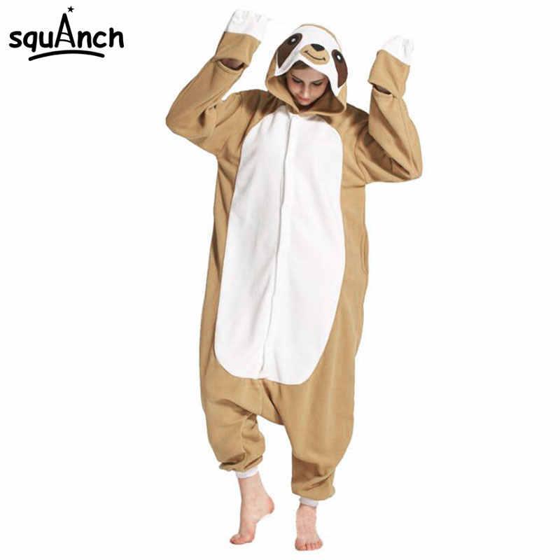201c670de3d4 Detail Feedback Questions about Animal Onesie Adult Sloth Pajamas Kigurumi  Cartoon Funny Jumpsuit Women Overalls Sleepwear Winter Outfit Polar Fleece  Party ...
