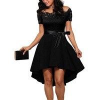 IIMADFWIW Dress Female Short Sleeve Lace Slim Patchwork Slash Neck Dresses For Women Sexy Mermaid Dress For Lady S M L XL XXL