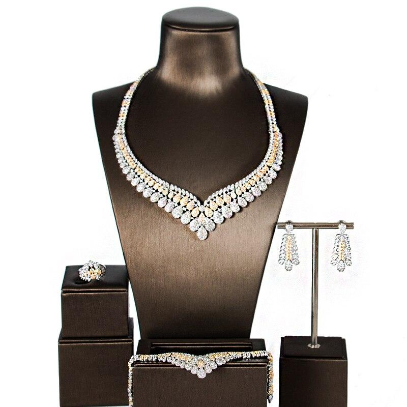 Роскошные блестящие 5A кубический циркон камелии Цепочки и ожерелья серьги браслет кольцо устанавливает для свадебное вечернее платье ювел