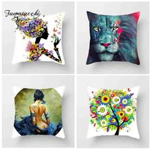 Fuwatacchi Oil Painting Style Cushion Cover Floral Owl Women Egg Printed Pillow Animal Decorative Pillows For Sofa Car