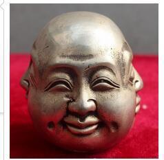 Decoración Latón Raro Chino Tíbet Latón 4 Caras Buda Cabeza Estatua JINHONGBO 5 Cm Dinastía China Antiguo Bronce Puro