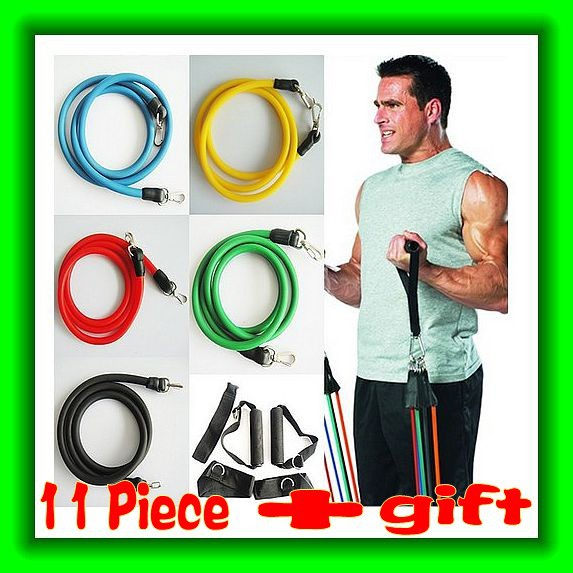 11pcs In 1 Set Heavy Latex Resistance Bands Fitness Exercise Rope Yoga Abs Workout