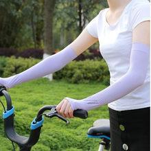 Manchons de bras en soie glacée pour femme, Protection contre les UV, manchette de sport, équitation, 2, nouveau Style, été, pièces/ensemble