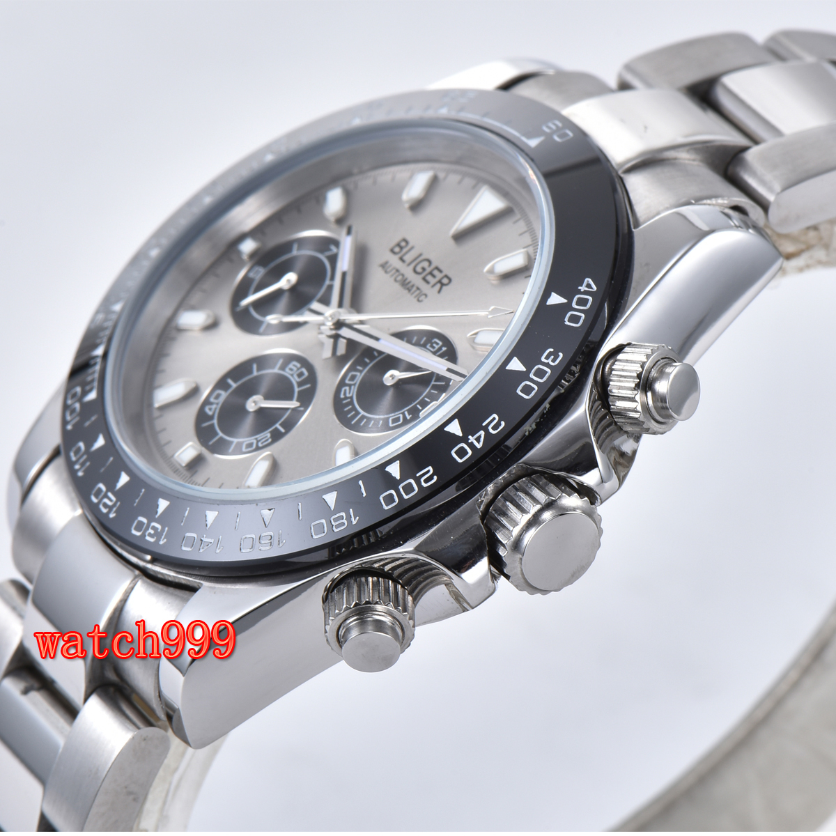 Image 3 - 39mm BLIGER gray dial mineral glass steel case automatic movement  mens casual watch steel strap waterproof mechanical watchMechanical  Watches