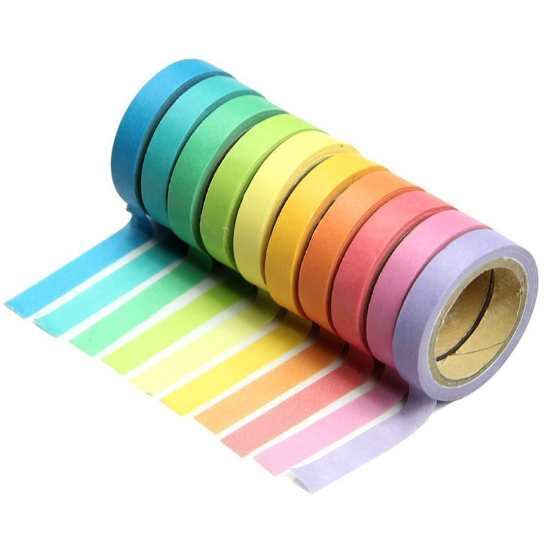 10Pcs/Set Korean Candy Colors Adhesive Washi Rainbow Tape Memo Washitape Wash Papeleria School Stationery Store Office Accessory