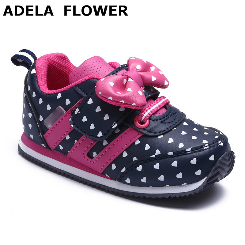 Autumn Winter Kids Shoes Big Girls Shoes Fashion Heart Shaped Bow PU Leather Sports Shoes For Girls Child Causal Shoes 1-3 Years