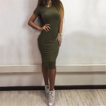 JSMY 2019 New Summer Fashion Women Solid Color Sexy Short-sleeved Dress Slim Pack Hip