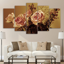 HD Printed Modular Pictures Frame Canvas Wall Art For Living Room 5 Pieces Retro Rose Flower Modern Home Decor Painting Posters