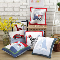 50x50cm 100 Cotton Quilt Children Room Decorate Pillowcase Cartoon Animal Vehicle Pattern Cushion Cover