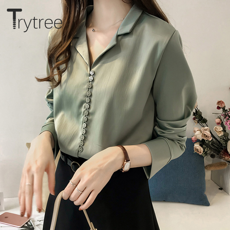 Ttytree Spring Summer Blouses Casual Shirt Women Polyester Office Lady Full Sleeve Buttons Soild Turn-down Collar Tops Shirts