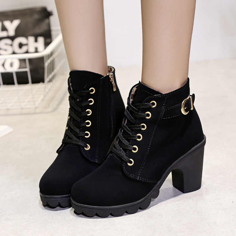 Bottines en cuir pour femmes bottes 2019 mode hiver bottes femme automne talon épais dames chaussures plate-forme bottes femmes chaussons