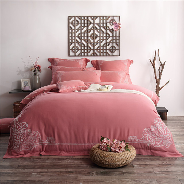 Delightful 100% Cotton Boho Style 4/6pcs Bedding Set Red Bed Sheets Embroidered Duvet  Cover