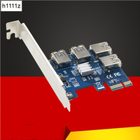New PCIe PCI Express Riser Card 1 To 4 Port USB 3 0 Converter Adapter PCIE