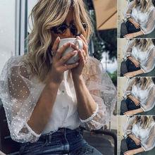 Fashion Women's Long Sleeve Mesh Polka Dot Shirt Tops Ladies Casual Sheer Blouse polka dot long sleeve casual shirt