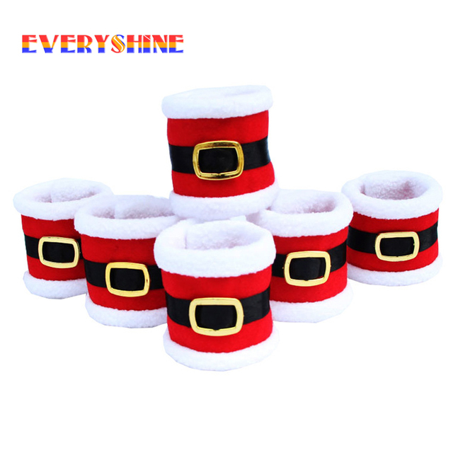 6pcs/lot Christmas Santa Claus Towel Napkin Rings Serviette Holder Table Dinner Party Elegant Tableware Cover for Home SD122