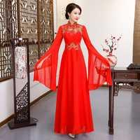Czerwony sukienka na imprezę orientalne kobiet Cheongsam szlachetny chiński styl elegancki długi Qipao luksusowe szaty ślubne ubrania Vestido S 4XL
