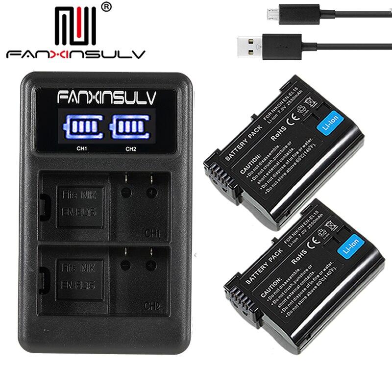 2x EN-EL15 en el15 batterie + usb chargeur pour Nikon D750 REFLEX caméra batterie D7000 D7100 D7200 D610 D7500 D810 d850 Z7 Z6 de Suivi