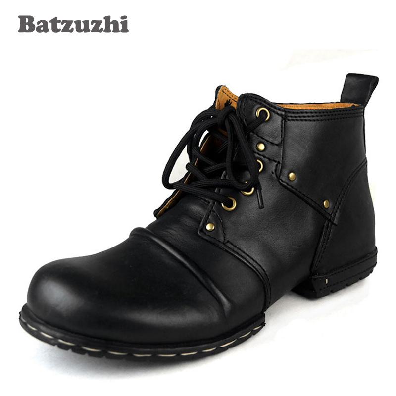 Batzuzhi Handmade Genuine Cow Leather Mens Boots Lace-Up Winter Ankle Boots Mens Shoes With Fur Winter Outdoor Boots for MenBatzuzhi Handmade Genuine Cow Leather Mens Boots Lace-Up Winter Ankle Boots Mens Shoes With Fur Winter Outdoor Boots for Men