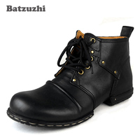 Batzuzhi Handmade Genuine Cow Leather Men's Boots Lace Up Winter Ankle Boots Men's Shoes With Fur Winter Outdoor Boots for Men