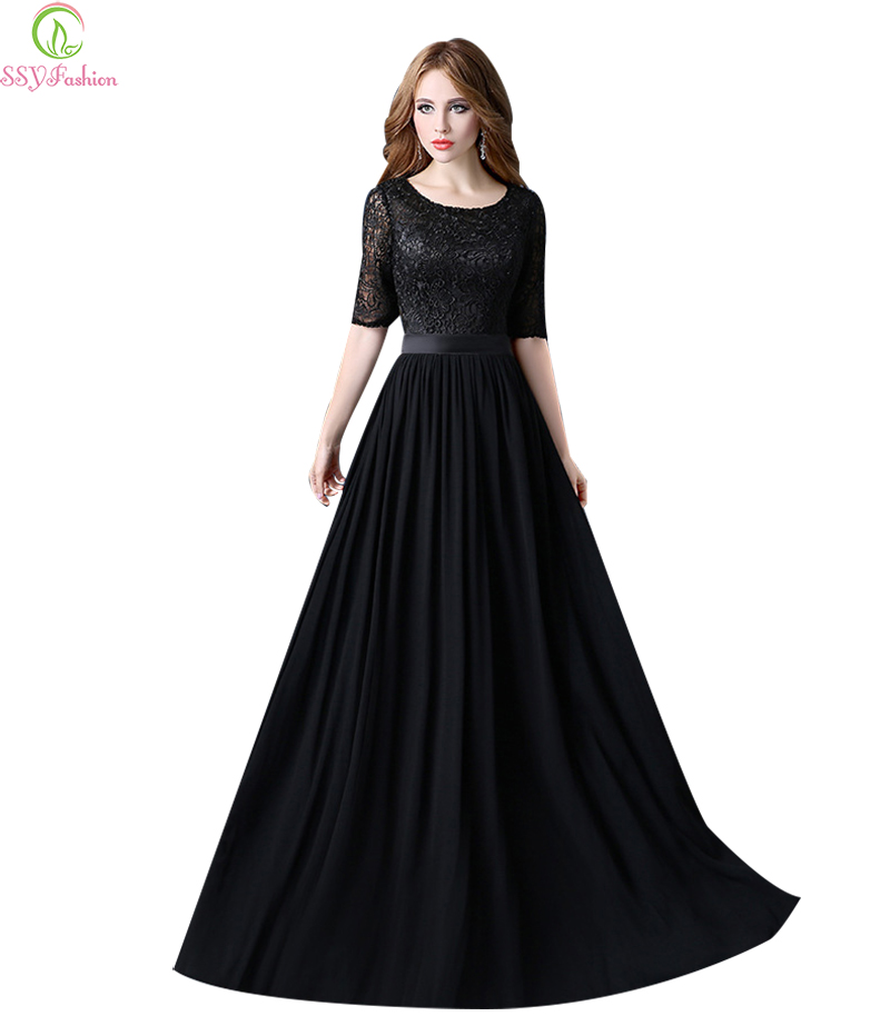 Ssyfashion Long Sleeve Wedding Dresses The Bride Elegant: Robe De Soiree SSYFashion Black Lace Long Evening Dresses