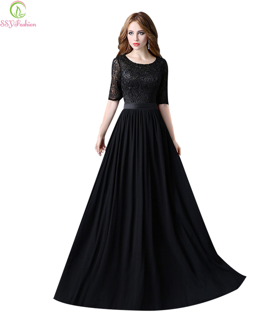 Robe De Soriee New Simple Wedding Dress Full Sleeve Lace: Robe De Soiree SSYFashion Black Lace Long Evening Dresses