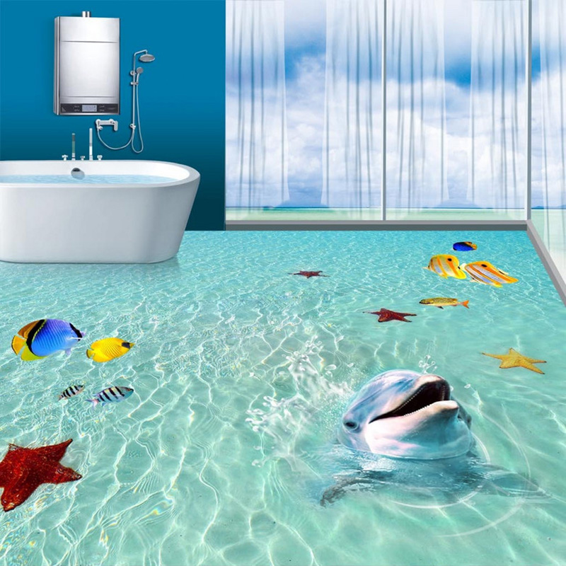 Custom Mural Wallpaper 3D Sea Beach Dolphin 3D Floor Painting Tiles Sticker PVC Self Adhesive Waterproof Bathroom Wall Paper 3 D