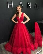 Verngo  Elegant Red Tulle Evening Dress Sleeveless Formal Classic Party Gown Kleider Damen Abendkleid