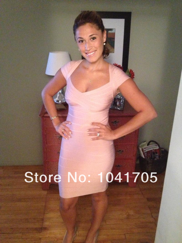 Wholesale variety of colors Stretch tight Sexy Leisure Celebrity Cocktail party Bandage dress H0993