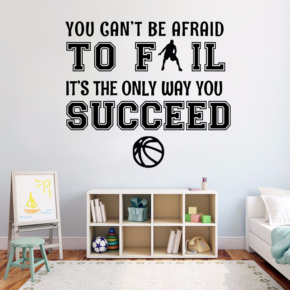 Basketball Quotes Wall Decal Basketball Lover Wall Sticker Boys Room Decoration Removable Vinyl Quotes Wall Poster Ay711 Sales Of Quality Assurance Home & Garden