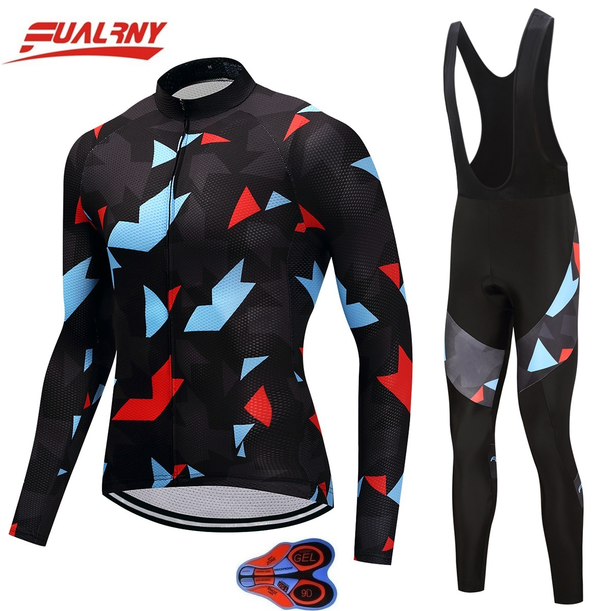 2018 FUALRNY NEW cycling jersey long sleeve men with pants cycling set mtb bike wear cycling clothing for ropa 9D gel camouflage paladinsport men s skull pattern long sleeved cycling jersey pants set black red size xl