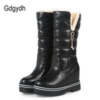 Gdgydh Women Snow Boots Platform 2017 New Arrival Fashion Rhinestone Plush Winter Shoes Woman Warm Wedges