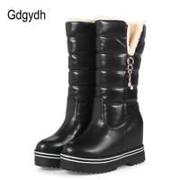 Gdgydh Women Snow Boots Platform 2017 New Arrival Fashion Rhinestone Plush Winter Shoes Woman Warm Wedges