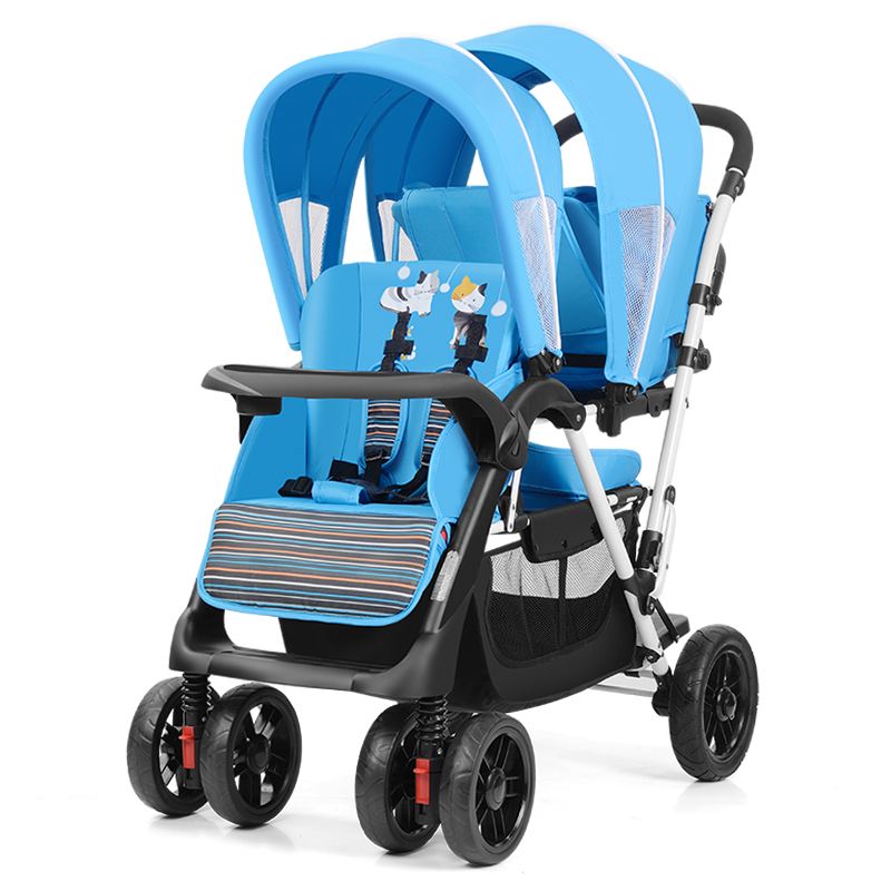 цена на Light Foldable Twins Baby stroller Carriage Newborns Twins Stroller with 4 wheels, adjust seat twins pram Netweight 15.3KG