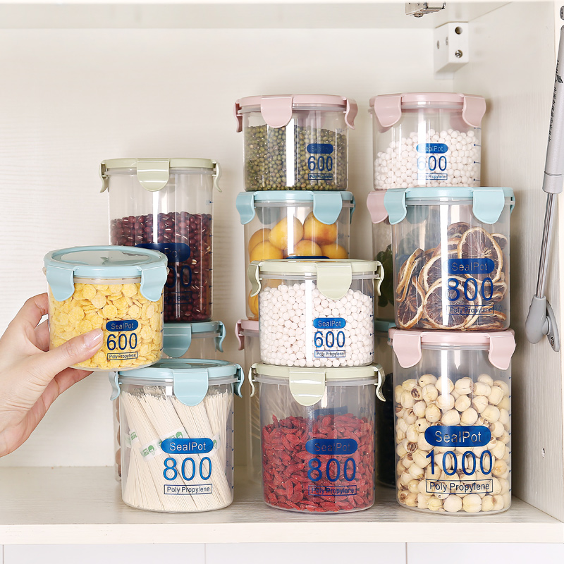 Transparent plastic sealed cans milk cans food cans 800ml, whole grains storage box Kitchen Canister