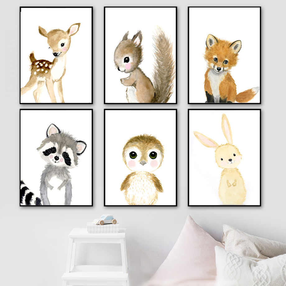Cartoon Fox Koala Deer Rabbit Squirrel Nordic Posters And Prints Wall Art Print Canvas Painting Nursery Wall Pictures Kids Room