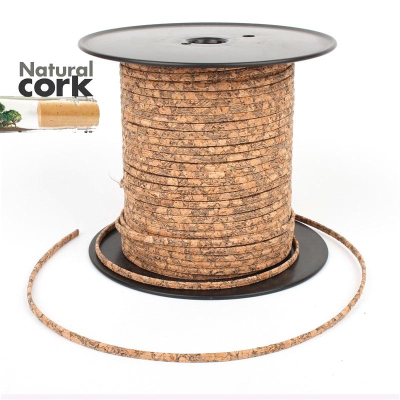 Portugués corcho Natural 5mm cable plano de color De Madera del grano joyería su