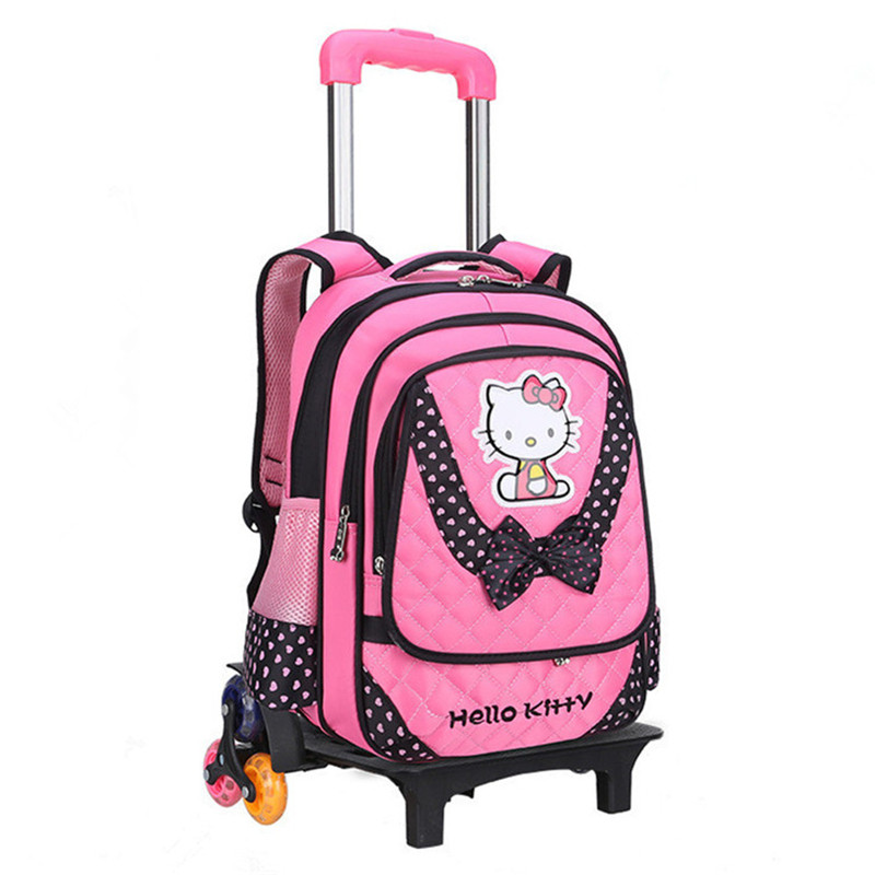 Hello Kitty Children School Bags Mochilas Kids Backpacks With 2/3 Wheels Trolley Luggage For Girls backpack wholesale mochila children school bag minecraft cartoon backpack pupils printing school bags hot game backpacks for boys and girls mochila escolar