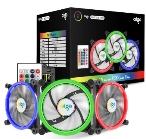 Aigo Z6-3, Dual-Ring RGB Fan Computer Cooling Fan Color-Changing with Controller Silent High Performance