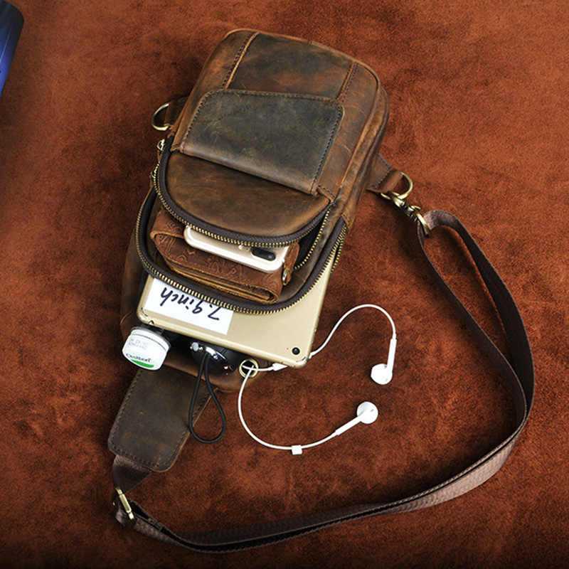 Crazy Horse Kulit Sapi Messenger Dada Tas Ransel Bahu Cross Tubuh Multi Kantong Tas Kulit Asli Pria Single Back Pack